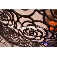 铝艺雕花镀铜屏风,仿古铜铝板镂空花格隔断图