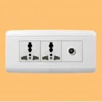 上海松日中型二位多功能插座带保护门、电视插座