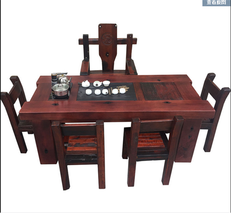 老船木茶桌新中老湿影院48试实木家具船木功夫茶台阳台小茶几休闲茶桌椅组合