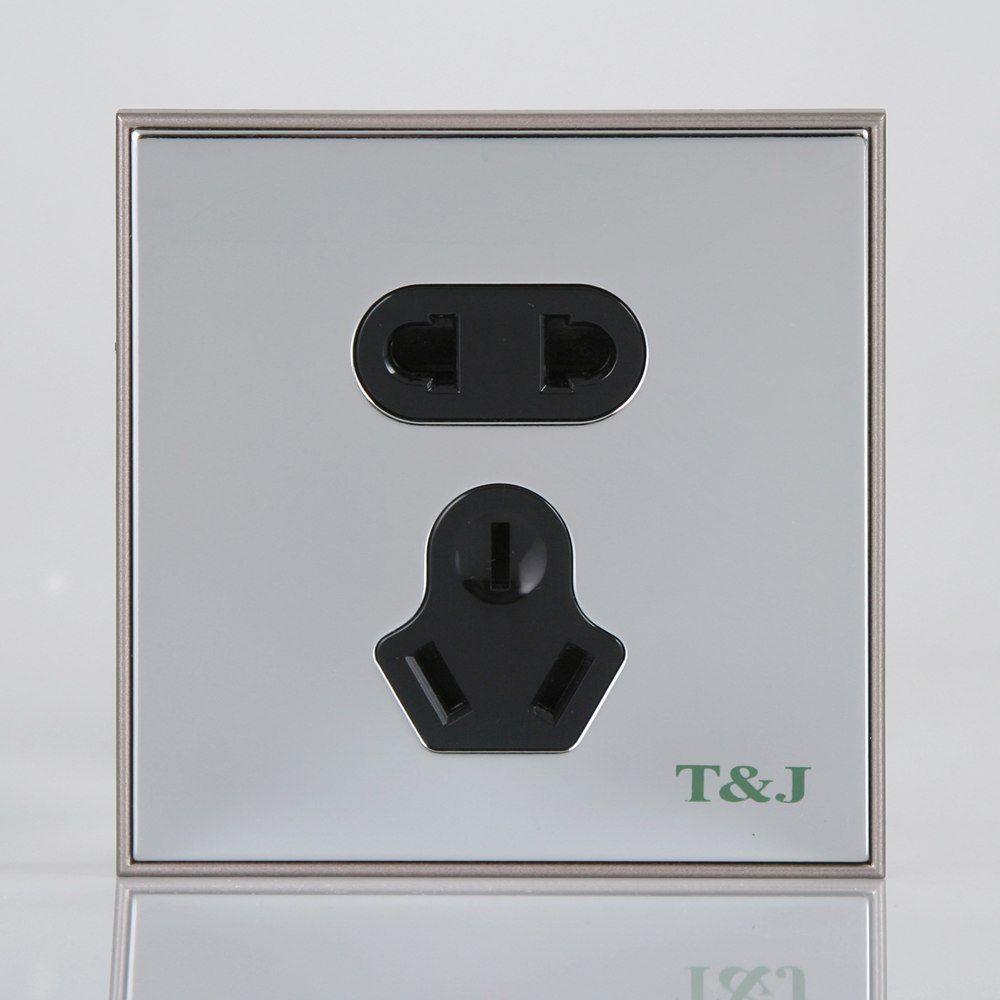 天基开关插座面板 贵族系列电铬银色 天基电气代理商