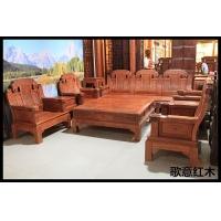 象头大款沙发 非洲花梨木沙发 十件套沙发 红木家具 大果紫檀
