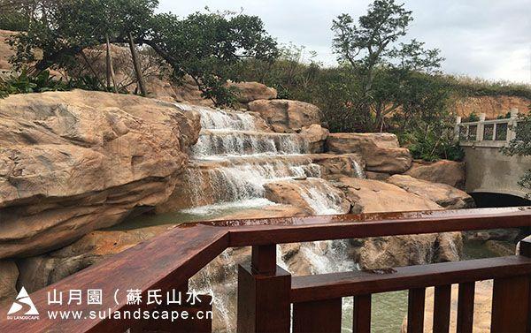 从都二期水景假山瀑布景观工程,假山施工。