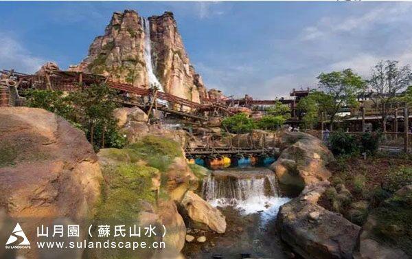 上海迪士尼探险岛雷鸣漂流假山,假山瀑布施工