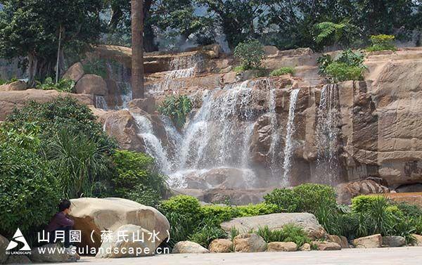 深圳市东部华侨城前广场假山瀑布景观,人工假山