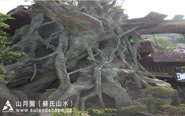 广州假山假树设计施工公司,grc假树,人工假山施工