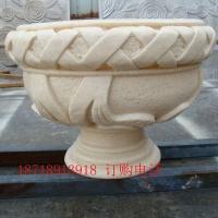 砂岩石花盆园林绿化种植景观花钵欧式浮雕花钵