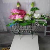 仿真荷花莲花供佛用品 塑料假花绢花小盆栽 家居装饰
