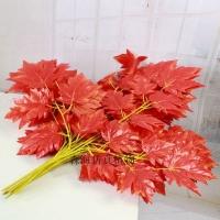 仿真大红枫叶红批发假树叶枫叶