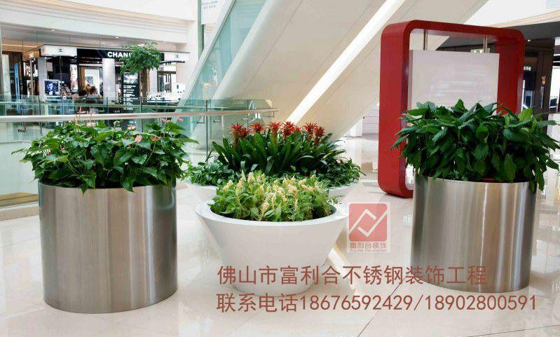 不锈钢花盆 大花器 超豪华落地金属花盆 别墅酒店 机场花瓶