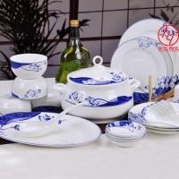 定做批发陶瓷餐具 高档手绘青花餐具