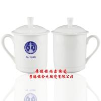 陶瓷水杯、手工贴花陶瓷杯