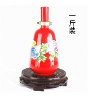 景德镇陶瓷酒瓶1斤2斤3斤5斤、中国红陶瓷酒瓶