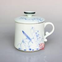 带盖过滤陶瓷茶杯手绘茶杯高档陶瓷杯
