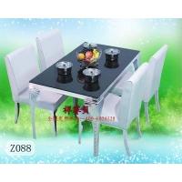 Z087电磁炉火锅餐桌 不锈钢台架钢化玻璃火锅桌子