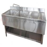 商用厨房设备-洗刷水池系列-西式三星带柜水池