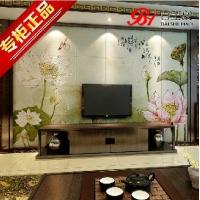 百士豪客厅电视背景墙瓷砖 中式雕刻背景 荷塘月色