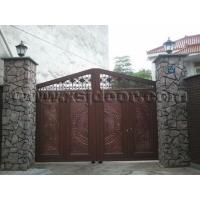 立体木纹古典智能庭院门 别墅院墙门 遥控围墙门