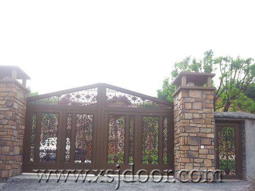 古典木纹别墅庭院门 智能院墙门 遥控围墙门