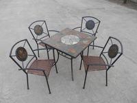 供应陕西石面桌椅玻璃桌椅铁网眼桌椅