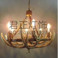 厂家定制欧式复古鹿角吊灯别墅酒店灯具客厅书房特色灯饰