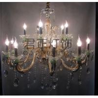 厂家定制简约时尚 玻璃弯管蜡烛吊灯 酒店家装水晶吊灯