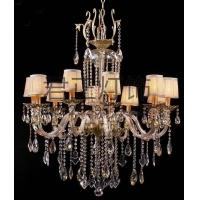 定制美式现代布艺罩灯罩水晶吊灯水晶客厅卧室灯饰