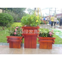 地产项目绿化道实木花箱