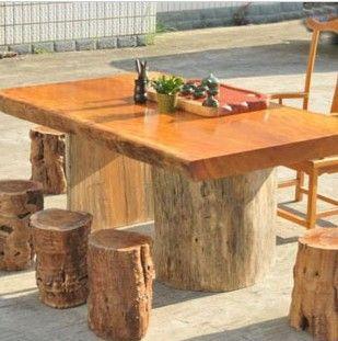 实木原木大板桌 - 盛辉木雕
