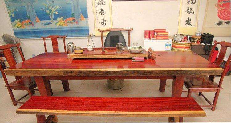 非洲花梨木大板桌实木原木餐桌茶几台红花梨大板