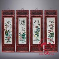 景德镇瓷板画春夏秋冬陶瓷四条屏仿古实木镂空雕花框