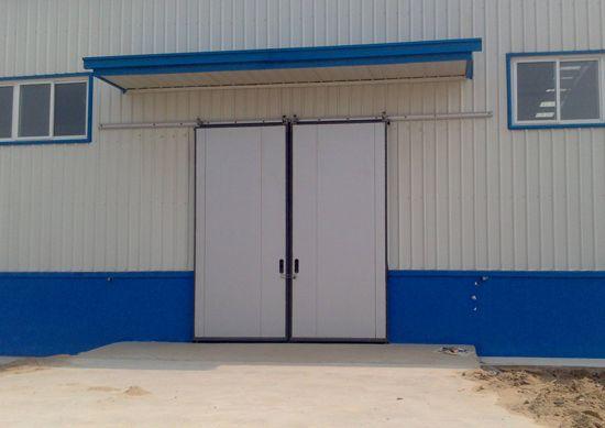 万通工厂电动钢大门  钢质防风钢大门
