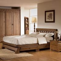 韩式家具仿古式榆木床卧室双人床带储物抽屉