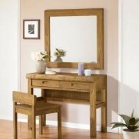榕华家居韩式榆木梳妆台实木梳妆桌化妆椅镜子卧室家具组合