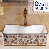 蒙娜丽莎陶瓷圆形台上盆面盆镀金彩金高档洗脸盆艺术盆浴室洗手盆