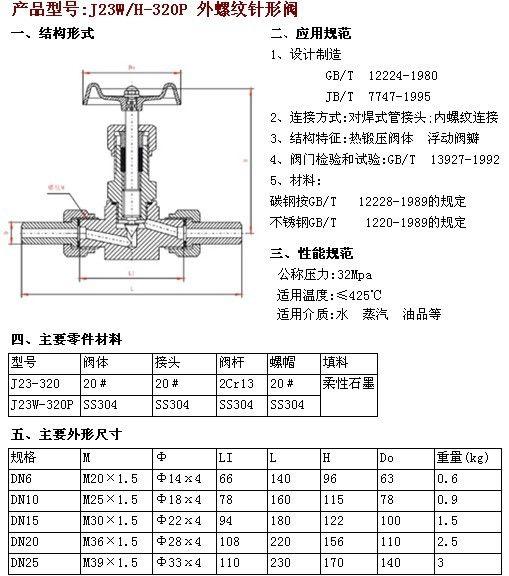 供应j23w-320p外螺纹针型阀 不锈钢外丝牙截止阀 针阀图片