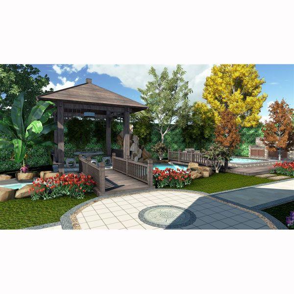 别墅花园地板效果图木质地板别墅图片10