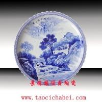 景德镇大瓷盘、青花手绘大瓷盘