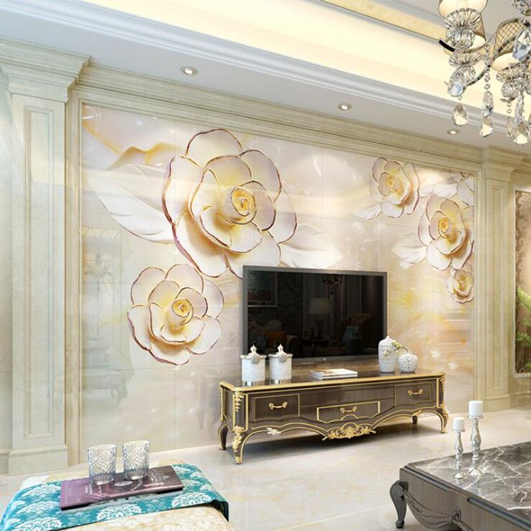 仿大理石客厅3D背景墙石塑室内装修材料