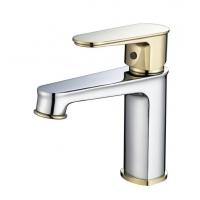 邦拿卫浴 高档单孔冷热面盆龙头 08011C 铬+金色