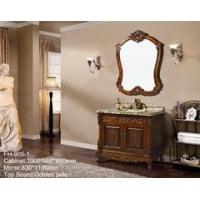 高品质仿古全实木橡木浴室柜大理石台面