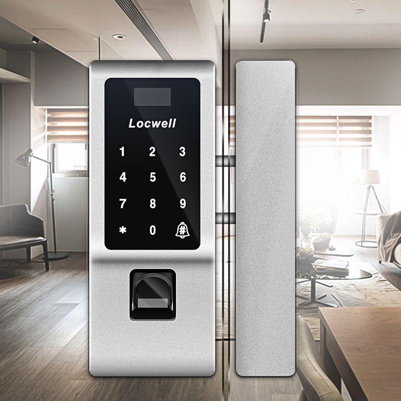 免开孔指纹密码锁商务中心专用玻璃门智能锁 指纹密码锁