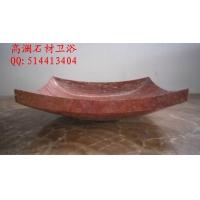 定制天然大理石进口A级红洞石洗脸盆、台面