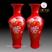 中国红陶瓷大花瓶    中国红落地大花瓶