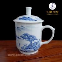 年会礼品定制_陶瓷青花大茶杯