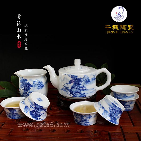 手绘茶具图片_景德镇青花瓷茶具图片_陶瓷手绘茶具