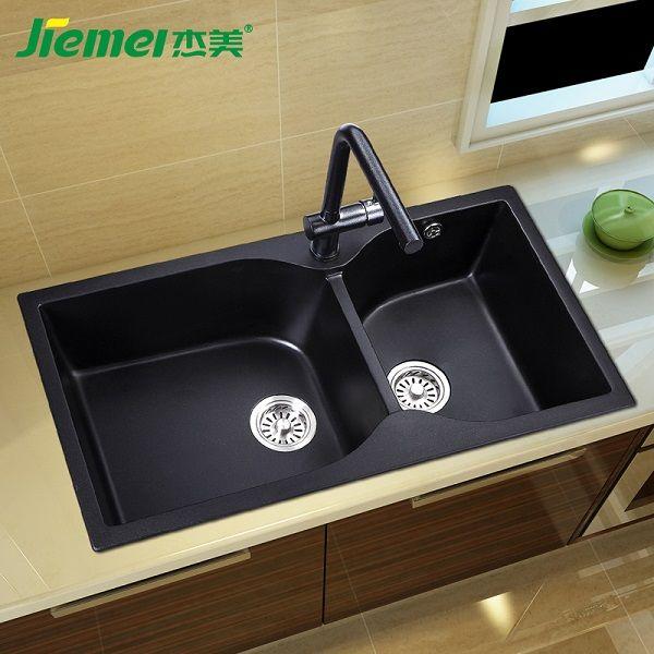 杰美厨房石英石水槽双槽JM206,花岗岩水槽
