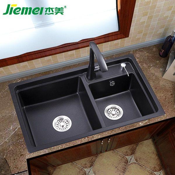杰美厨房石英石水槽双槽JM207,花岗岩水槽