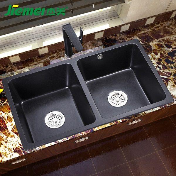 杰美厨房石英石水槽双槽JM209,花岗岩水槽