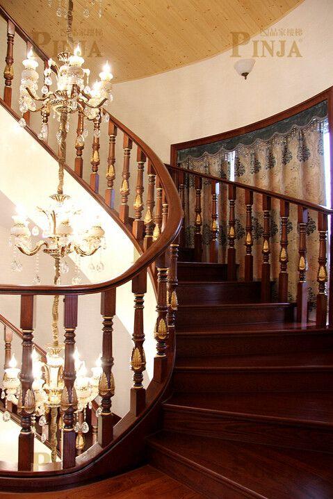 农村仿古中式楼梯_私人定制型古式楼梯_仿古木雕楼梯