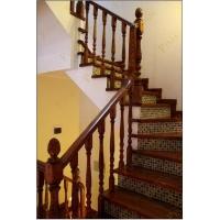 品家楼梯别墅橡木楼梯装修设计_红褐色地中海楼梯